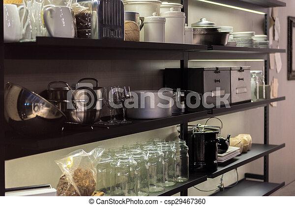 Estante, cocina comercial. Cacerolas, ollas, lotes, estantes ...