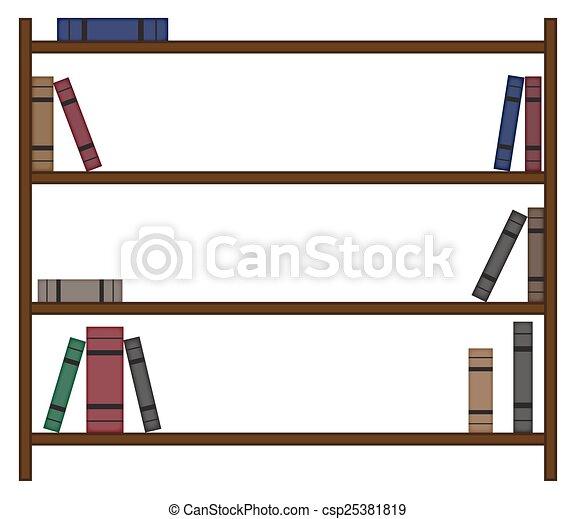 Una estantería vacía con pocos libros - csp25381819