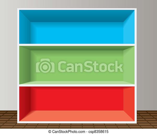 Estante de libros vacío y colorido - csp8358615