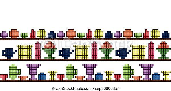 Platos de fondo en el píxel estante - csp36800357
