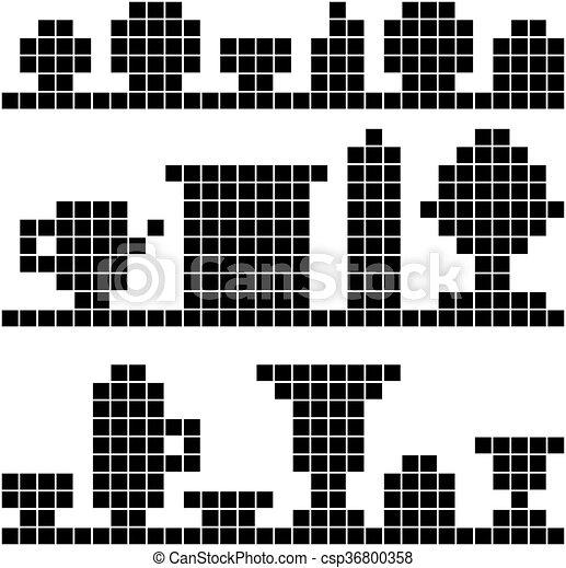 Platos de fondo en el píxel estante - csp36800358