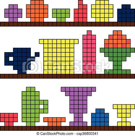 Platos de fondo en el píxel estante - csp36800341