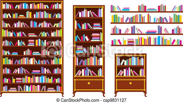 Estantes para libros conjunto estantes vector adobe - Estantes para libros ...