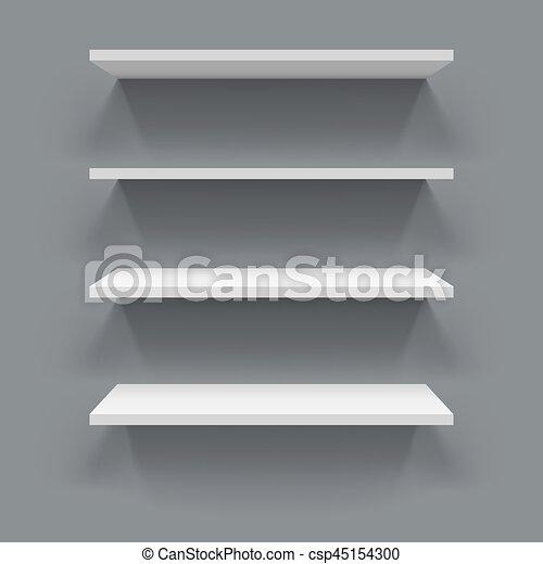 estantes pared gris fondo blanco 3d vector - Estantes De Pared