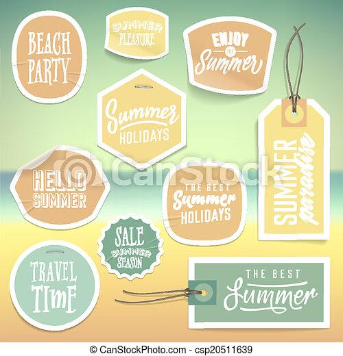 estate, adesivi, etichette, vacanza, vacanza - csp20511639