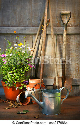 estate, capannone, giardino, vaso, fiori, attrezzi - csp2179864