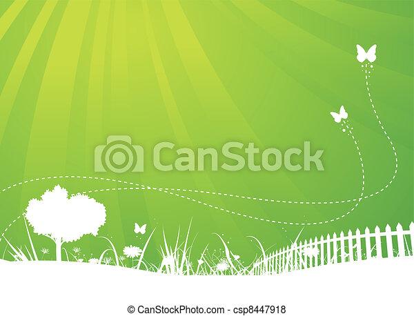 estate, farfalle, giardino, fondo, primavera - csp8447918