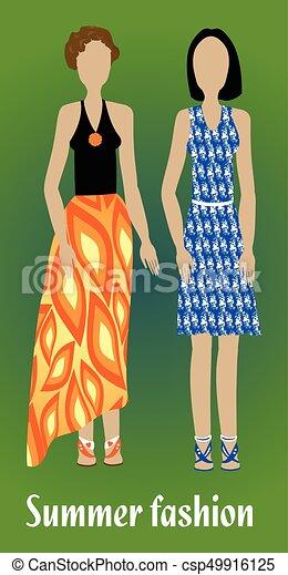cheap for discount 64891 4e737 estate, moda, colorito, moda, moderno, vestiti, gioventù, silhouette,  disegno, ragazza