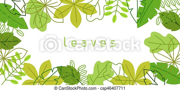 estate, naturale, primavera, leaves., stilizzato, fogliame verde, bandiera, o - csp46407711