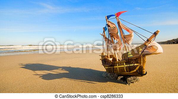 estate, nave, spiaggia, soleggiato, modello - csp8286333