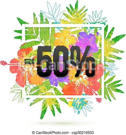 estate, percento, vendita, 50, scontare, vettore, sagoma - csp30216503