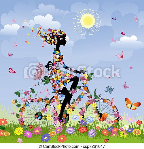 estate, ragazza, bicicletta, fuori - csp7261647