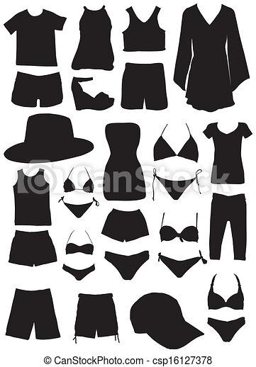 estate, silhouette, moda, vestiti - csp16127378