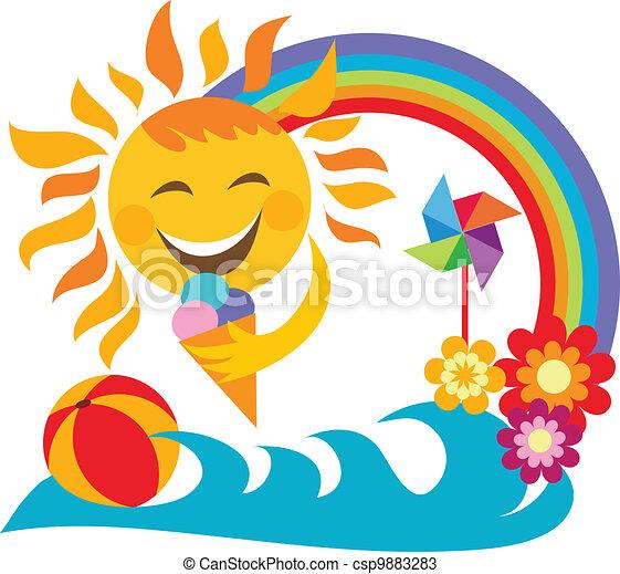estate, sole, ghiaccio, presa a terra, felice, vacation;, crema - csp9883283