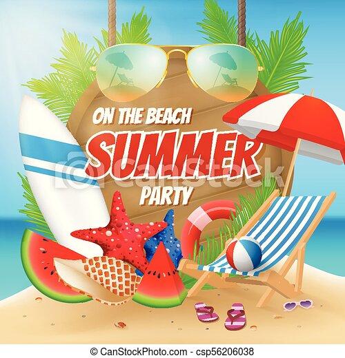 estate, spiaggia, disegno, festa, manifesto - csp56206038