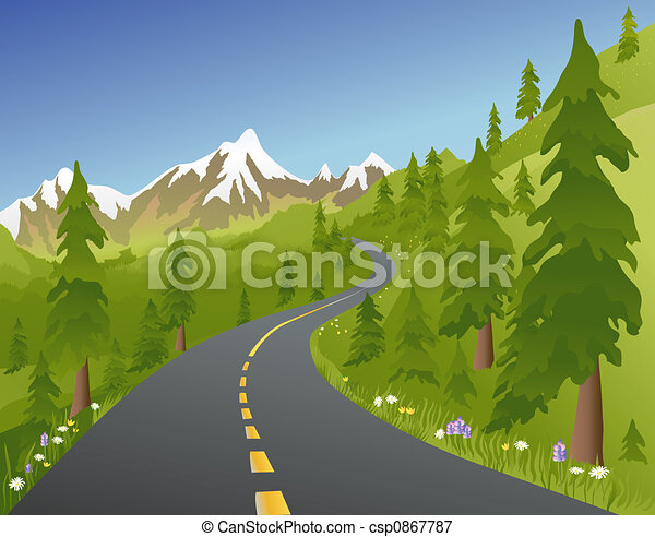 estate, strada, montagna - csp0867787