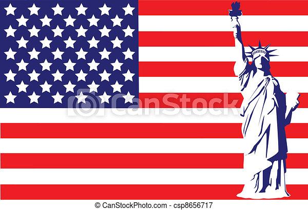 Estatua Bandera Libertad Estados Unidos De América