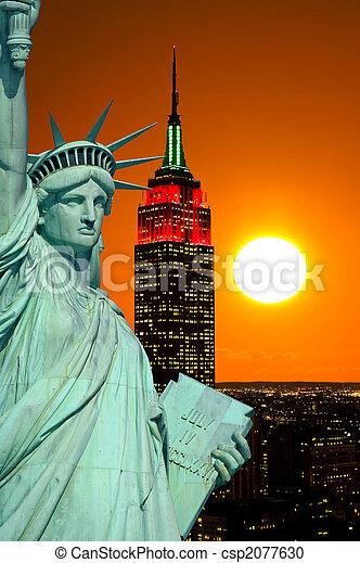 estatua, ciudad, york, libertad, nuevo - csp2077630