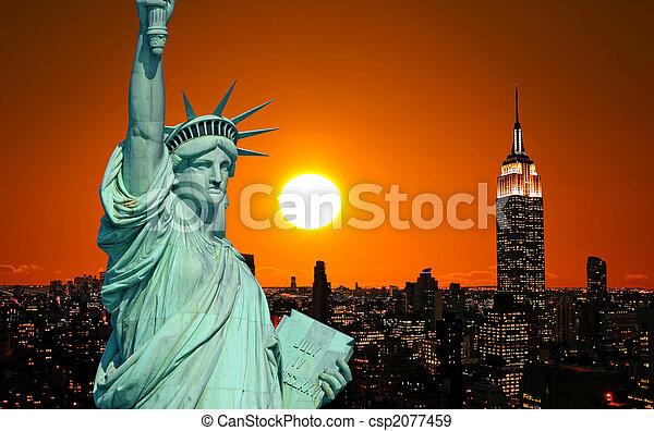estatua, ciudad, york, libertad, nuevo - csp2077459