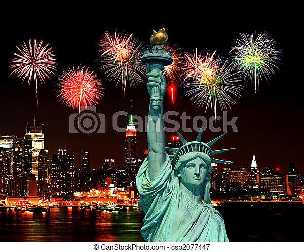 estatua, ciudad, york, libertad, nuevo - csp2077447