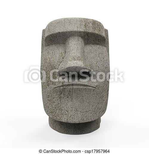 estatua de moai, aislado - csp17957964