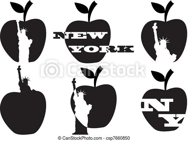 estatua, manzana grande, libertad - csp7660850