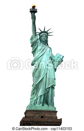 Estatua de la libertad aislada en blanco - csp11403153