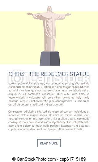 estatua, redentor, vector, cristo, ilustración - csp61715189