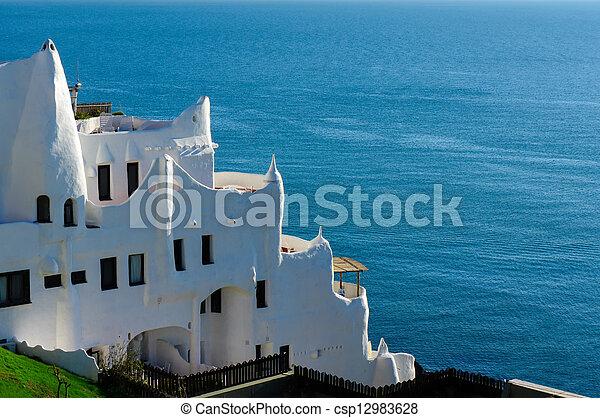 este, ウルグアイ, punta, 浜, casapueblo, del - csp12983628