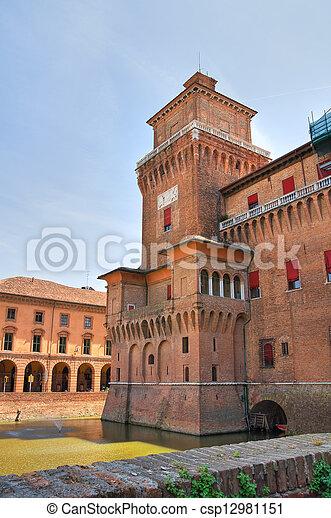 este, italy., castle., emilia-romagna., ferrara. - csp12981151