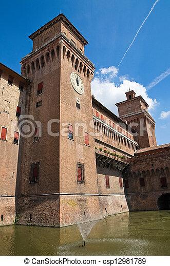 este, italy., castle., emilia-romagna., ferrara. - csp12981789