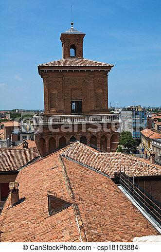 este, italy., castle., emilia-romagna., ferrara. - csp18103884