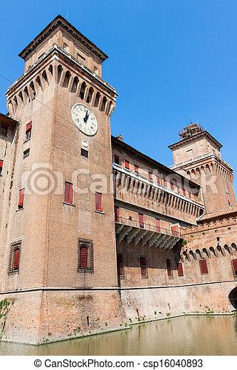 estense, イタリア, castle., emilia-romagna., ferrara. - csp16040893