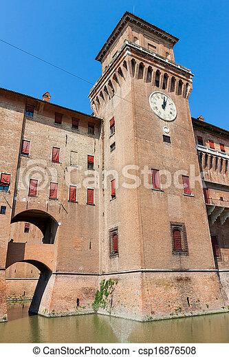 estense, イタリア, castle., emilia-romagna., ferrara. - csp16876508