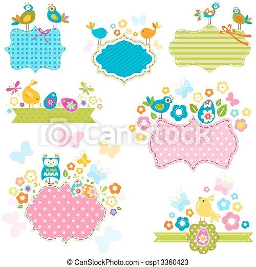 Ester frames. Easter frames set with birds and flowers.