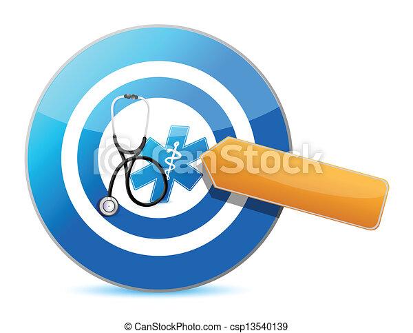 Apunta al buen concepto de salud con un estetoscopio - csp13540139