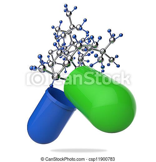 Estetoscopio en mano con cápsula y molécula - csp11900783