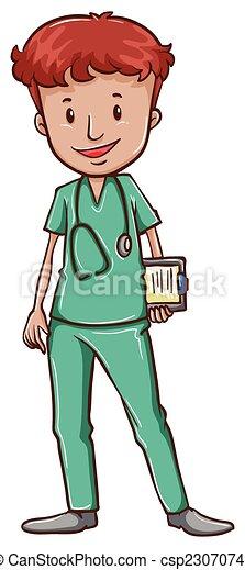 Un doctor con estetoscopio - csp23070748