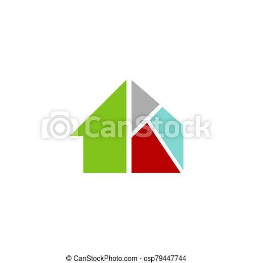 estilista, logotipo, techo, vector, icono, señal, mejoramiento de las condiciones del hogar, casa - csp79447744