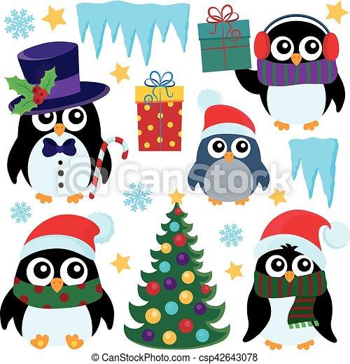 Estilizado 1 Pingüinos Conjunto Navidad Estilizado Conjunto