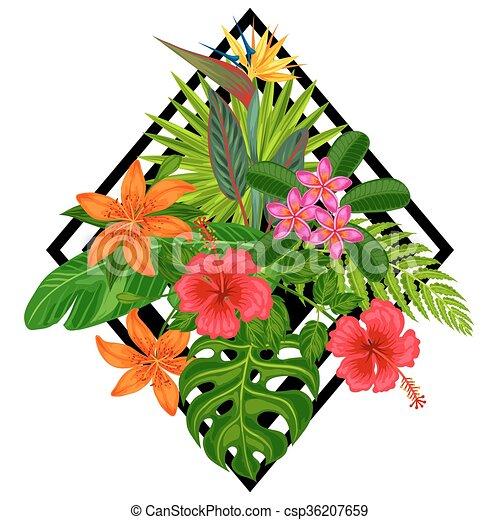 Antecedentes con plantas tropicales estilizadas, hojas y flores. Imágenes para folletos publicitarios, pancartas, desolladores, tarjetas, impresión textil - csp36207659