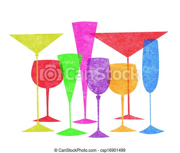 Bebidas estilizadas aisladas en blanco - csp16901499