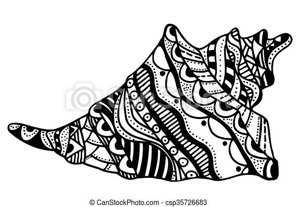 Concha estilizada Zentangle - csp35726683