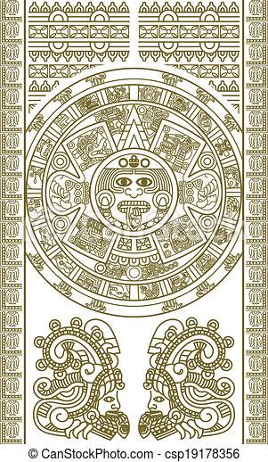 Calendario Azteca Vectores.Estilizado Calendario Azteca