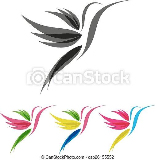 Estilizado, coloreado, colibri. Estilizado, colibrís, coloreado ...