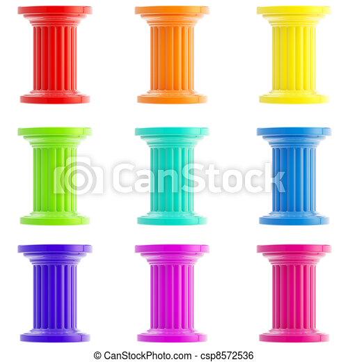 Set de nueve columnas estilizadas, pilares aislados - csp8572536