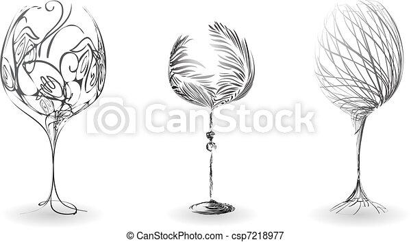 Un conjunto de líneas estilizadas de vasos de vino - csp7218977