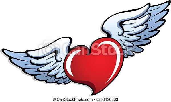 Estilizado Corazón 1 Alas Corazón Vector Illustration