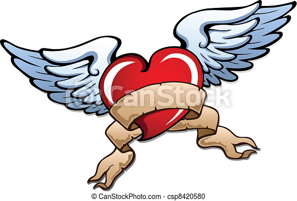 Clip art vectorial de estilizado corazn 2 alas  Stylized