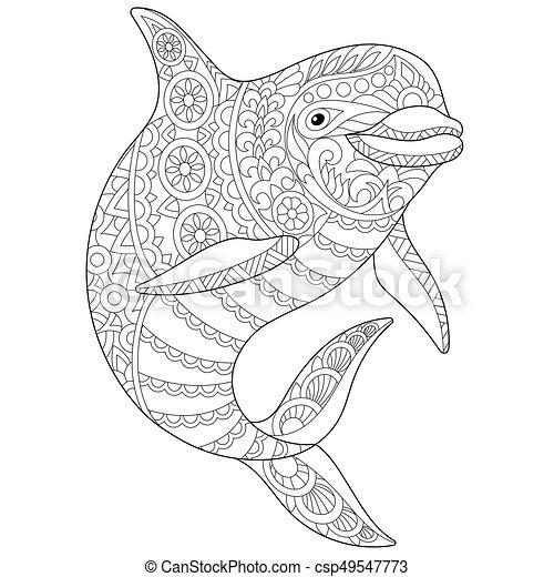 Estilizado Delfin Zentangle Submarino Bosquejo Colorido Delfin